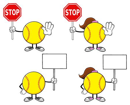 faceless: Softball Faceless Player Cartoon Character