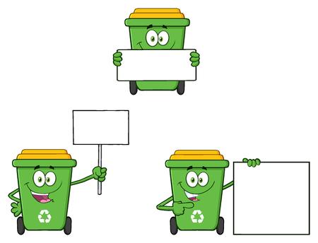 Recycle Bin Cartoon Character