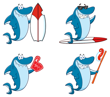 Blue Shark Cartoon Mascot Character