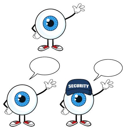 Blue Eyeball Guy Cartoon Mascot Character