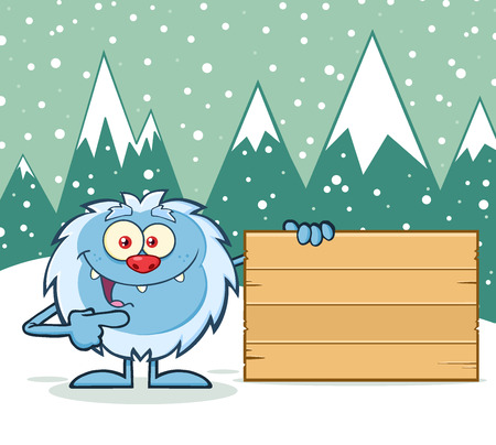 yeti: Cute Little Yeti Cartoon Mascot Character Pointing To A Wooden Blank Sign. Illustration With Winter Background Stock Photo