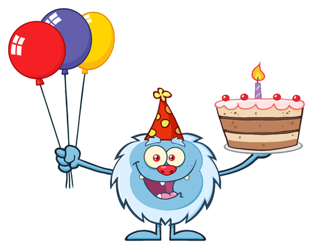 yeti: Happy Little Yeti Cartoon Mascot Character Wearing A Party Hat And Holding Balloons And A Birthday Cake. Illustration Isolated On White Background