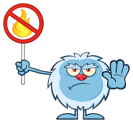 yeti: Grumpy Yeti Cartoon Mascot Character Gesturing And Holding A No Fire Sign. Illustration Isolated On White Background