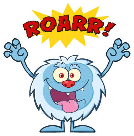 effect: Scary Yeti Cartoon Mascot Character With Angry Roar Sound Effect Text. Illustration Isolated On White Background