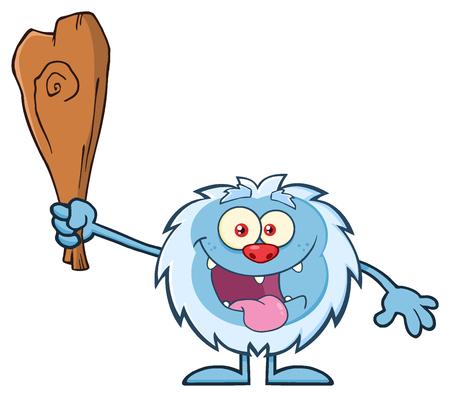yeti: Crazy Little Yeti Cartoon Mascot Character Holding Up A Club. Illustration Isolated On White Background Stock Photo