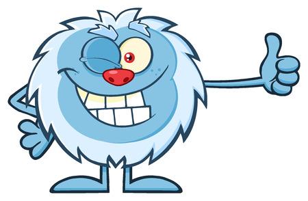 yeti: Cute Little Yeti Cartoon Mascot Character Winking And Holding A Thumb Up