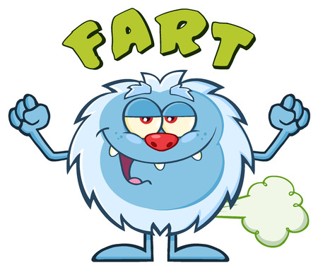 farting: Smiling Little Yeti Cartoon Mascot Character Farting. Illustration Isolated On White Background With Text Fart