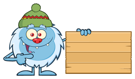 yeti: Cute Little Yeti Cartoon Mascot Character With Hat Pointing To A Wooden Blank Sign. Illustration Isolated On White Background Stock Photo