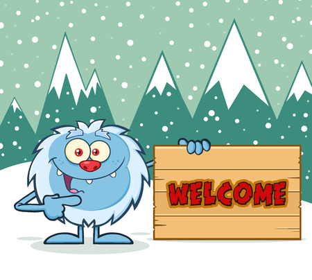 yeti: Cute Little Yeti Cartoon Mascot Character Pointing To A Welcome Wooden Sign. Illustration With Winter Background