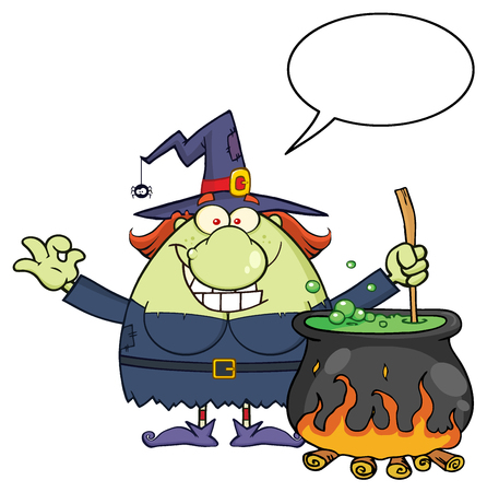 Ugly Halloween Witch Cartoon Mascot Character Preparing A Potion In A Cauldron With Blank Speech Bubble. Illustration Isolated On White Background Stock Photo