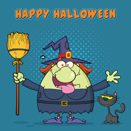 Happy Witch Cartoon Mascot Character Holding A Broom With Black Cat. Illustration With Halftone Background And Text Happy Halloween Stock Photo