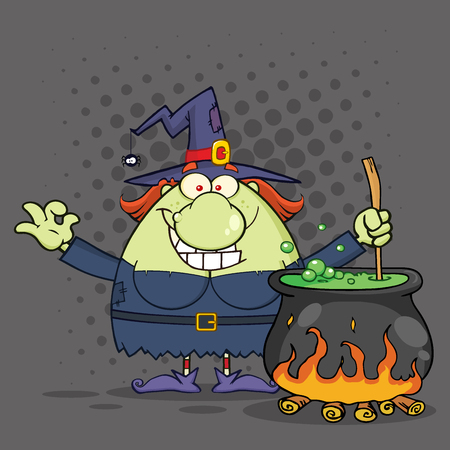 harridan: Ugly Halloween Witch Cartoon Mascot Character Preparing A Potion In A Cauldron. Illustration With Halftone Background Stock Photo