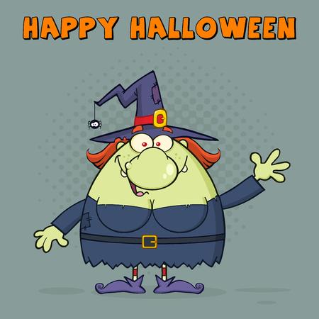 Feo personaje de dibujos animados que agita la bruja para el saludo. Ilustración con el fondo de medios tonos y texto Happy Halloween