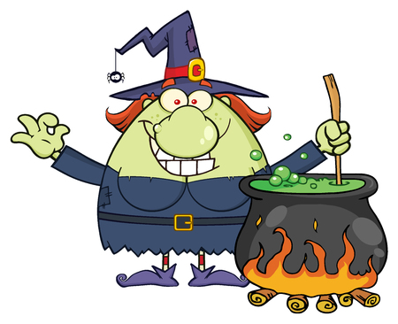 Ugly Halloween Witch Cartoon Mascot Character Preparing A Potion In A Cauldron. Illustration Isolated On White Background