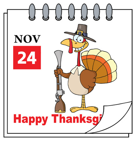 musket: Cartoon Calendar Page With Turkey With Pilgrim Hat and Musket. Illustration Isolated On White Background Stock Photo