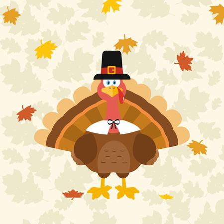 pilgrim hat: Thanksgiving Turkey Bird Wearing A Pilgrim Hat. Illustration Flat Design Over Background With Autumn Leaves