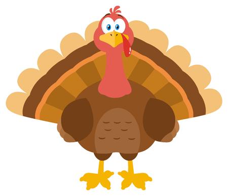 Thanksgiving Turkey Bird Cartoon Mascot Character. Illustration Flat Design Isolated On White Background