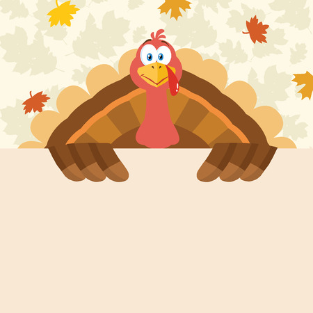 blank sign: Happy Thanksgiving Turkey Bird Cartoon Mascot Character Holding A Blank Sign. Illustration Flat Design Over Background With Autumn Leaves Stock Photo