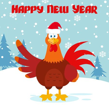 Cute Red Rooster Bird Cartoon Mascot Character Waving. Illustration Flat Design With Snow Background And Text Happy New Year