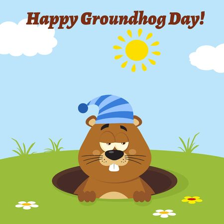 Cute Marmot Cartoon Mascot Character With Sleeping Hat Emerging From A Hole. Illustration Flat Design With Background And Text Happy Groundhog Day Stock Photo