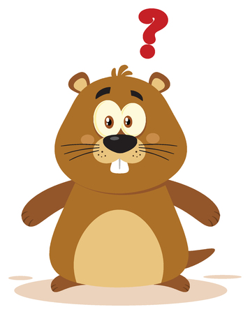 Cute Marmot Cartoon Mascot Character With Question Mark. Illustration Flat Design Isolated On White Background