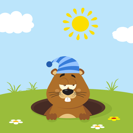 Cute Marmot Cartoon Mascot Character With Sleeping Hat Emerging From A Hole In Groundhog Day. Illustration Flat Design With Background Stock Photo