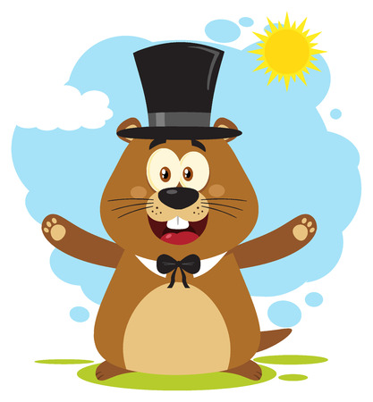 Happy Marmot Cartoon Mascot Character Wearing A Cylinder Hat And Welcoming Under Sunshine. Illustration Flat Design With Background Isolated On White