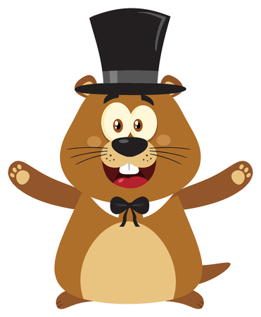 Smiling Marmot Cartoon Mascot Character With Cylinder Hat And Open Arms In Groundhog Day. Illustration Flat Design With Background Isolated On White