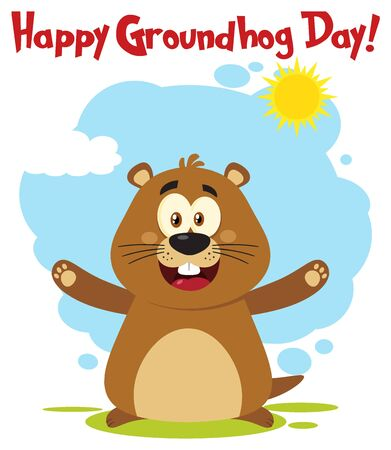 Happy Marmot Cartoon Mascot Character With Open Arms And Text Happy Groundhog Day. Illustration Flat Design With Background Isolated On White Stock Photo