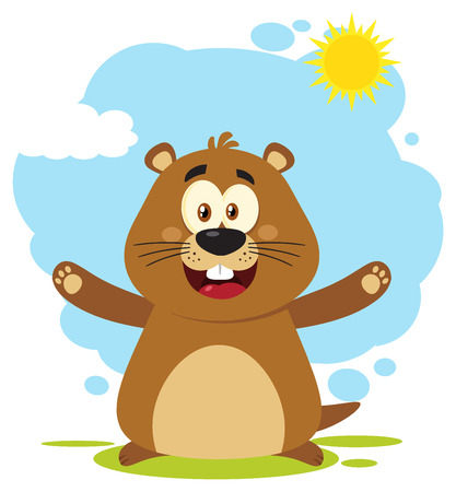 Happy Marmot Cartoon Mascot Character With Open Arms. Illustration Flat Design With Background Isolated On White