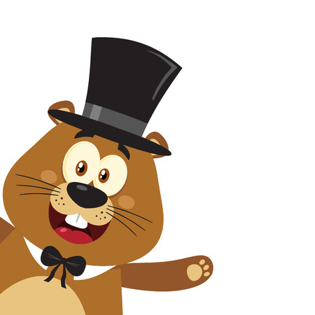 Smiling Marmot Cartoon Mascot Character With Cylinder Hat Waving From Corner. Illustration Flat Design Isolated On White Background