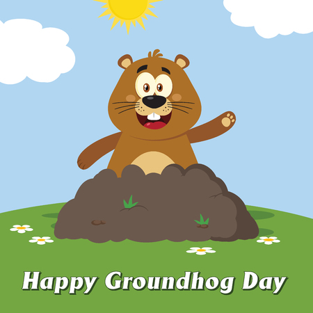 Happy Marmot Cartoon Mascot Character Waving In Groundhog Day. Illustration Flat Design With Background And Text Happy Groundhog Day Stock Photo