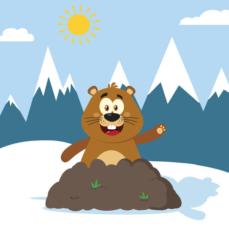 Smiling Marmot Cartoon Mascot Character Waving In Groundhog Day. Illustration Flat Design With Background Stock Photo