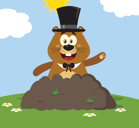Happy Marmot Cartoon Mascot Character With Cylinder Hat Waving In Groundhog Day. Illustration Flat Design With Background