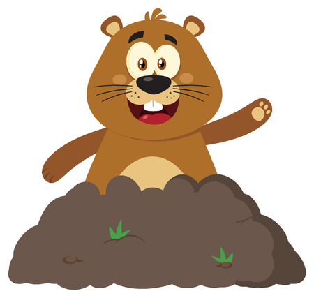 Happy Marmot Cartoon Mascot Character Waving In Groundhog Day. Illustration Flat Design Isolated On White Background