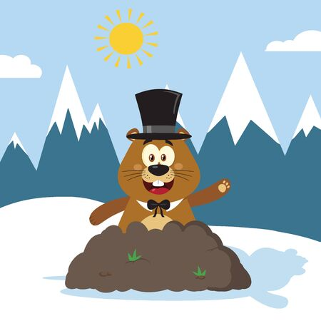marmot: Happy Marmot Cartoon Mascot Character With Cylinder Hat Waving In Groundhog Day. Illustration Flat Design With Background