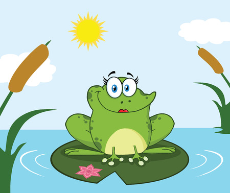 croaking: Smiling Frog Female Cartoon Mascot Character Perched On A Pond Lily Pad In Lake. Illustration With Background Stock Photo