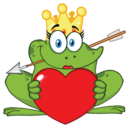 croaking: Smiling Princess Frog Cartoon Mascot Character With Crown And Arrow Holding A Love Heart. Illustration Isolated On White Background