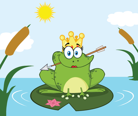 Princess Frog Cartoon Mascot Character With Crown And Arrow Perched On A Pond Lily Pad In Lake. Illustration With Background Stock Photo