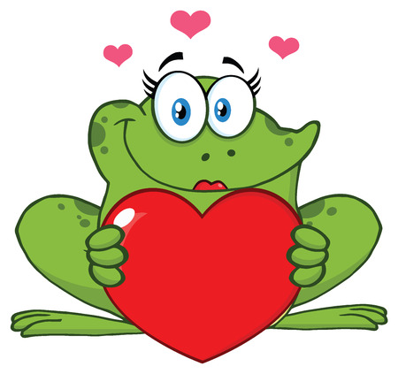 croaking: Smiling Frog Female Cartoon Mascot Character Holding A Valentine Love Heart. Illustration Isolated On White Background
