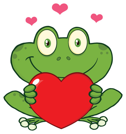 croaking: Cute Frog Cartoon Mascot Character Holding A Valentine Love Heart. Illustration Isolated On White Background Stock Photo