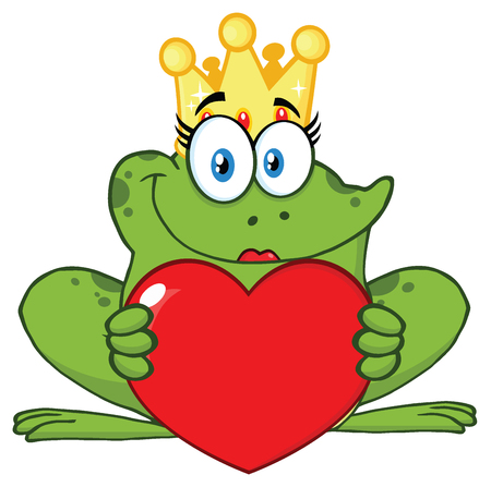 princess frog: Smiling Princess Frog Cartoon Mascot Character With Crown Holding A Love Heart. Illustration Isolated On White Background Stock Photo
