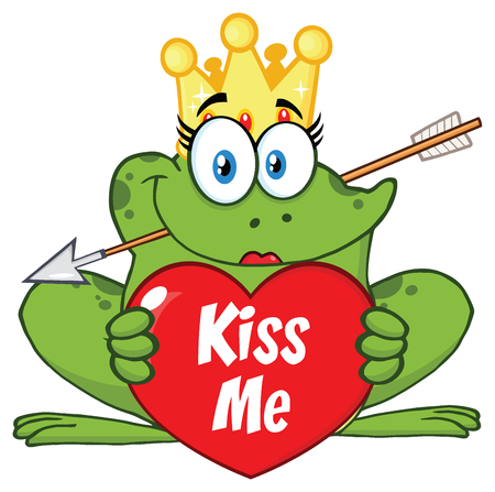 Princess Frog Cartoon Mascot Character With Crown And Arrow Holding A Love Heart With Text Kiss Me. Illustration Isolated On White Background