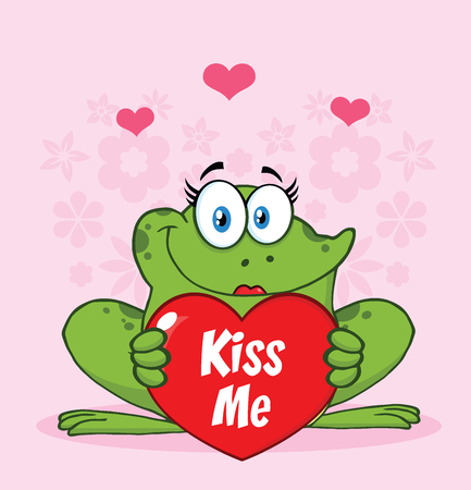 Female Frog Cartoon Mascot Character Holding A Valentine Love Heart With Text Kiss Me. Illustration With Pink Flowers Background
