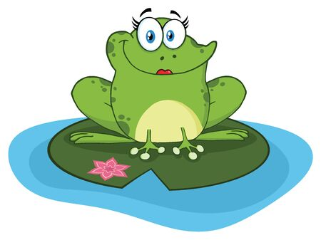 croaking: Frog Female Cartoon Mascot Character In A Pond. Illustration Isolated On White Background