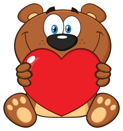 Smiling Brown Teddy Bear Cartoon Mascot Character Holding A Valentine Love Heart. Illustration Isolated On White Background