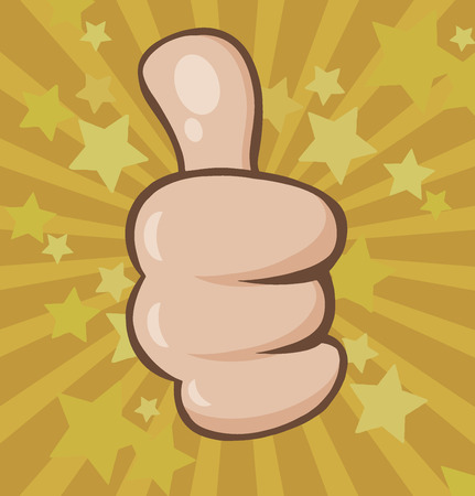 Vintage Cartoon Hand Giving Thumbs Up Gesture. Illustration With Stars Sunburst Background In Old Style