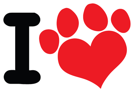 I Love Animals With Red Heart Paw Print Logo Design. Illustration Isolated On White Background