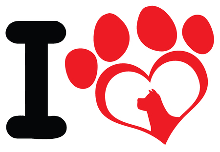 I Love With Red Heart Paw Print With Claws And Dog Head Silhouette Logo Design. Illustration Isolated On White Background