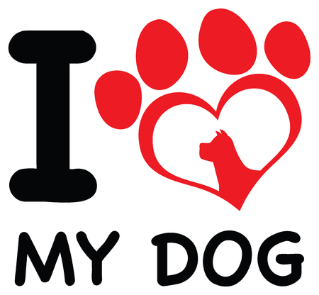 Red Heart Paw Print With Claws And Dog Head Silhouette Logo Design. Illustration Isolated On White Background With Text I love My Dog Stock Photo